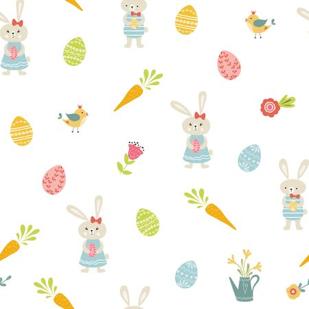 Easter background Seamless ester pattern with easter eggs, bunny rabbits birds flowers Spring design Vector