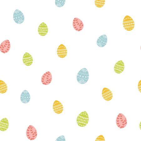 Easter eggs texture Seamless ester pattern with easter eggs, bunny rabbits birds flowers design Vector Illustration