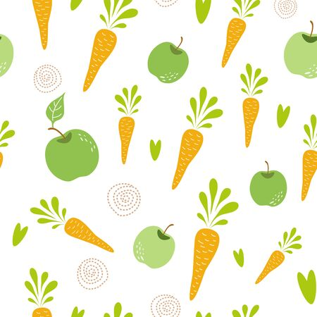 Food creative background Carrot apple seamless pattern. Hand drawn vegetables texture Carrot texture Vegan Vector