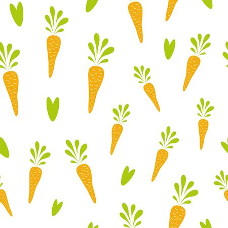 Carrot seamless pattern. Cute raw vegetables texture Flat carrot design on white. Vegan design Vector