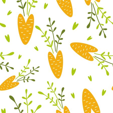 Food creative background Carrot seamless pattern Doodle vegetables texture Carrot design on white Vegan Vector