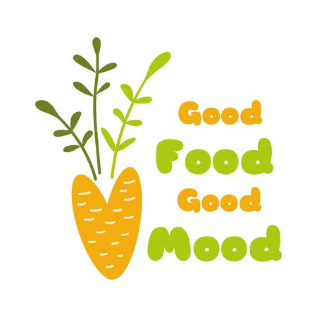 Green food green mood Creative vegan phrase decorated cute doodle carrot Hand drawn vegetables print Vegan Vector