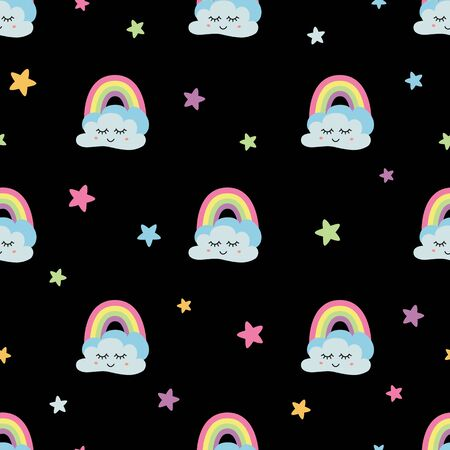 Cloud seamless print Rainbow stars clouds fabric Seamless pattern Cute cartoon Dark background Baby design Stock fotó - 137858730