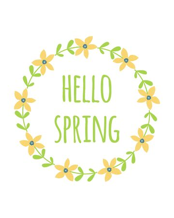 Hello spring flowers wreath. Cute hand drawn green yellow floral element Fresh spring graphic design Vector 向量圖像