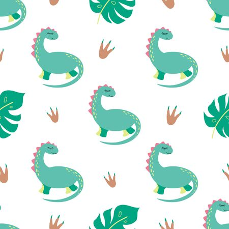 Dinosaur seamless pattern Cute dino print in green colors Repeated background Textile Vector