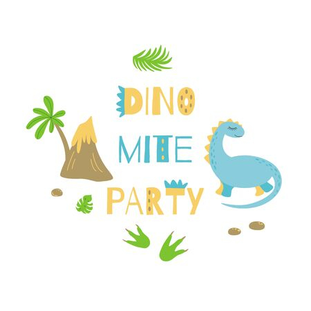 Dinomite party Invitation card or poster Cute dinosaur Bright colors Vector template