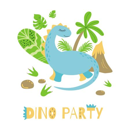 Dino party Invitation card or poster Cute dinosaur Bright colors Vector template