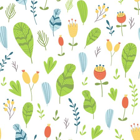 Hand drawn floral seamless pattern Summer floral seamless background Graphic botanical print Bright texture 向量圖像