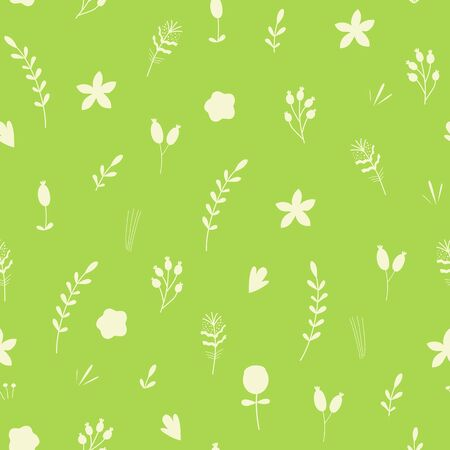 Green graphic foliage seamless pattern Green hand drawn leaf repeat background summer natural print 向量圖像