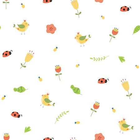 Cute flower seamless pattern. Summer floral seamless background Graphic prints pattern Bright texture Vector