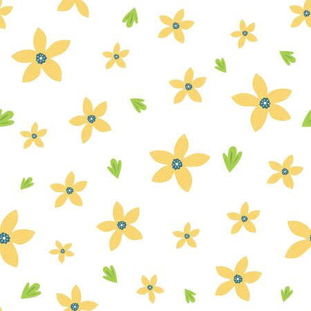 Cute yellow seamless floral pattern for kids baby apparel fabric textile wallpaper sleepwear, pajamas
