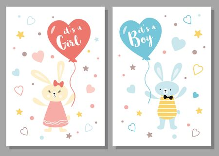 Its a boy its a girl Baby shower greeting card Baby announcement Cute kids design element rabbit balloon 向量圖像