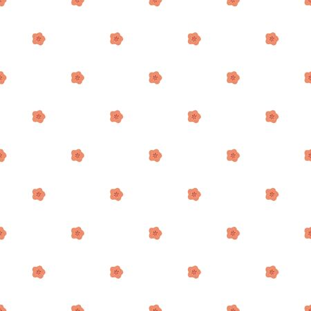 Seamless geometrical pattern with small round polka dot floral motive. Red cute tiny flowers. Fabric textile 向量圖像