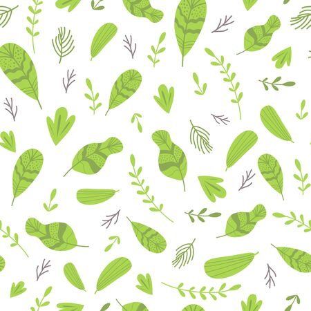 Abstract seamless pattern with cute green leaves. Hand drawn texture Green nature background. Vector template.