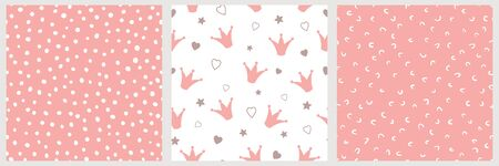 Pink girly seamless pattern Crowns Hand drawn dotted seamless irregular background Textile design for girls vector