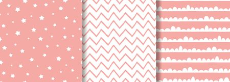 Pink seamless pattern set for baby girl design Cute sweet background collection Wallpaper textile fabric