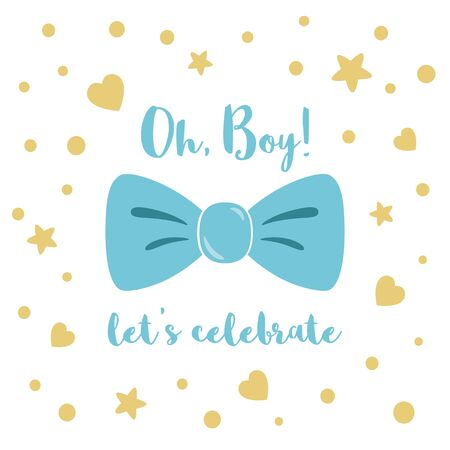 Oh boy cute baby shower invitation element with blue bow tie butterfly. Birthday invitation. Vector illustration with little yellow stars, hearts, polka dot. Cute baby boy design for cards, banners.