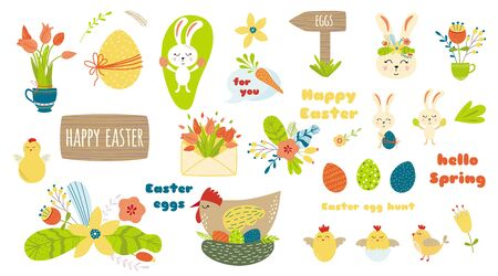 Easter elements set clip art Cute Easter characters Text Happy Easter Graphic kids hand drawn bright elements: eggs, flowers, chicken, chicks, Easter quotes Rabbit banny, tulips Vector illustration.