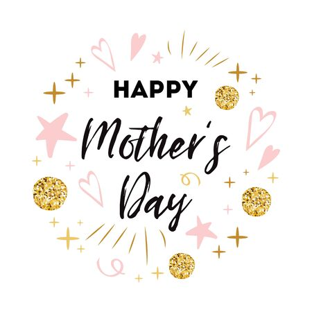 Mothers Day vector greeting card. Romantic hand drawn ornament. Text Happy Mothers day Typography print in pink gold colors Design calligraphy phrase for banner, invitation, symbol, congratulation