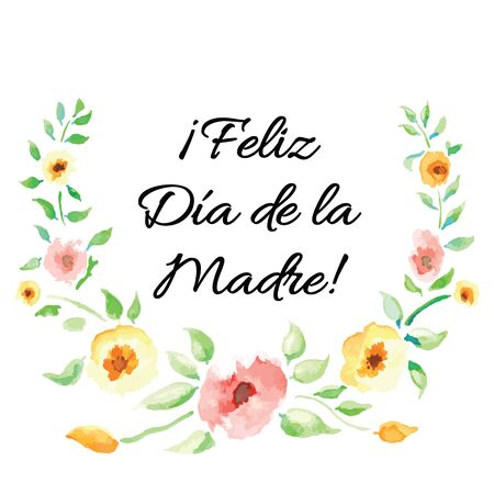 Mother Day vector greeting card. Hand drawn romantic banner decorated cute hand drawn watercolor flowers on white background. Lettering title in Spanish 版權商用圖片