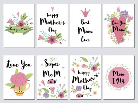 Set of Mothers day cards. Holiday romantic vector illustration with hearts, lettering, flowers, leaves and branches, collection of lovely symbols for Mom day. Hand drawn template for your design.