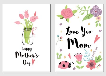 Set of Mothers day cards Love you Mom. Hand drawn romantic vector illustration with tulips pink meadow flowers ladybug leaves and branches Cute collection of lovely symbols for Mom day Template.