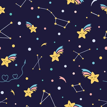 Kids sky seamless pattern in dark night colors Rainbow star shooting background vector baby design 向量圖像