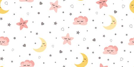 Cute sky kids seamless pattern Baby textile design with smiling sleeping moon hearts stars clouds.