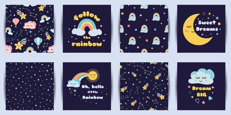 Set of baby night cards seamless patterns Cute cartoon characters Dream phrases Dark night