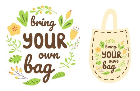 Bring your own bag text on shopping bag Colorful lettering design Zero waste element print Vector 向量圖像