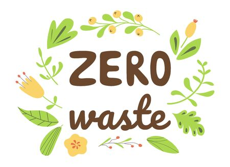 Zero Waste lettering hand drawn text Eco friendly green print Eco phrase decorated green leaves flowers Vector