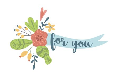 For you text on ribbon with flowers. Cute floral element for cards, invitations love banner congratulation Vector 向量圖像