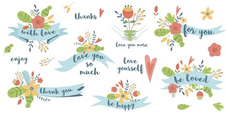 Love quote vector Floral ribbon set phrases love story Romantic valentines day quotes 向量圖像