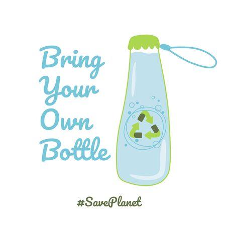 Apportez votre propre bouteille Arrêtez la pollution plastique BYOB Bouteille de dessin animé dessiné à la main avec élément de vecteur d'eau Vecteurs