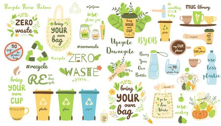 Zero waste elements set. Recycle clip art Eco friendly stickers Reusable items products collection. Eco grocery bags thermo mug plastic bottle garbage can. Ecological cute cartoon vector illustration. 向量圖像