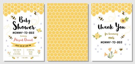 Bee baby shower invitation templates set with with cute yellow bee, text Mommy to Bee, sweet honey. Honeycomb background. Thank you card. Gender neutral bby shower invite. Vector illustration.