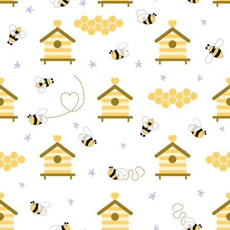 Beekeeping seamless pattern yellow colors. Honey apiary beehive background. Vettoriali
