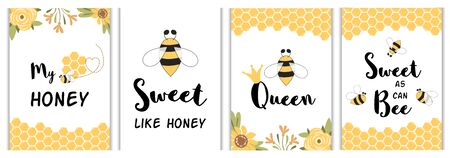 Love quotes poster Funny phrases set. Yellow honey bee cards, prints. Sweet honey love messages for baby Vector