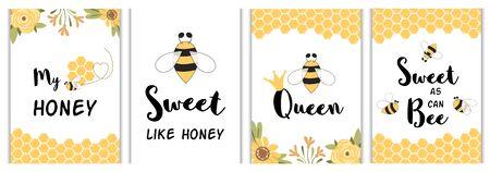 Poster di citazioni d'amore Insieme di frasi divertenti. Carte di api gialle, stampe. Messaggi d'amore dolce miele per il bambino Vector