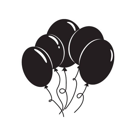 Black air balloons icon isolated on white. Modern simple flat birthday baloon sign Celebration internet concept. Trendy vector ballon symbol for website, web button, mobile app. Logo illustration. Illustration