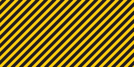 Black yellow stripes wall. Hazard industrial striped road warning. Yellow black diagonal stripes. Caution background. Ilustrace
