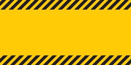 Black yellow striped banner wall. Hazard industrial striped road warning Yellow black diagonal stripes. Ilustrace