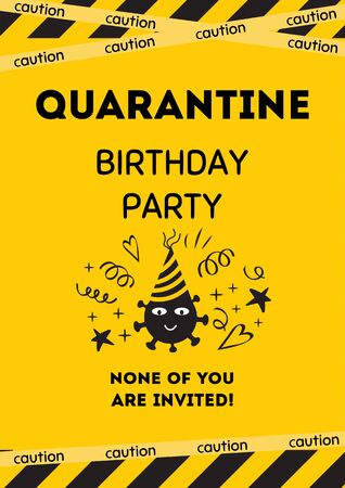 Quarantine Birthday party invitation. Yellow black Birthday card with smiling coronavirus. Home online party banner, poster. Birth template for virtual party.