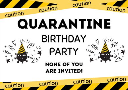 Quarantine Birthday party invitation. Yellow black Birthday card with smiling coronavirus. Home online party banner, poster. Birth template for virtual party Funny invite illustration. Graphic design.