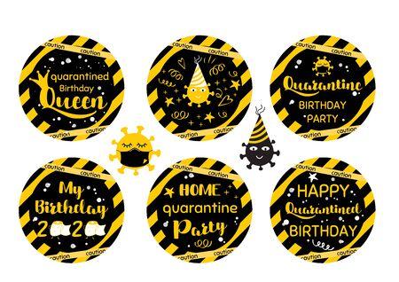 Quarantine Birthday cupcake toppers set Yellow black Birthday cicrle decorative elements. Home quarantined party funny phrases. Self isolation online celebration. Birth 2020 Tags Sticker illustration. Reklamní fotografie