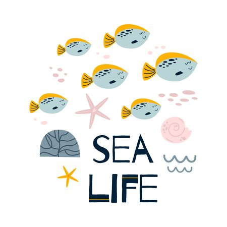 Baby room wall art. Cute poster children room with funny fish, sea, text Sea life. Grey smiling fish. Kids room wall art decor. Baby boy clothes print postcard fabric. Wild animal vector illustration. Ilustrace