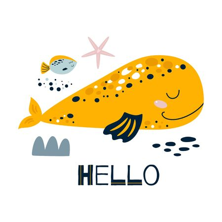 Baby room wall art. Cute poster children room with whale fish, sea, text Hello. Yellow smiling whale. Kids room wall art decor. Baby clothes print postcard invitation. Wild animal vector illustration.