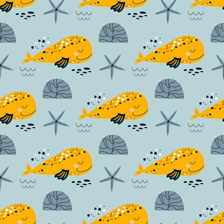Whale repeat background Super cute whale seamless pattern for baby print Sea kids fabric design, fun fish, grey kids nautical pattern. Under sea wallpaper textile. Aquatic vector cartoon illustration. 向量圖像
