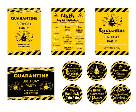 Quarantine Birthday set Home party invitation. Yellow black Birthday cards. Funny wishes for coronavirus. Cupcake toppers. Birth online party. Birth template. Virtual party. Funny label illustration. 스톡 콘텐츠