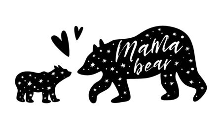 Mama bear. Baby bear. Black bear family print. Simple bear silhouette with stars for mothers day card, cute t-shirt design. Vector illustration isolated poster. Kids nursery wall art, fabric decor.